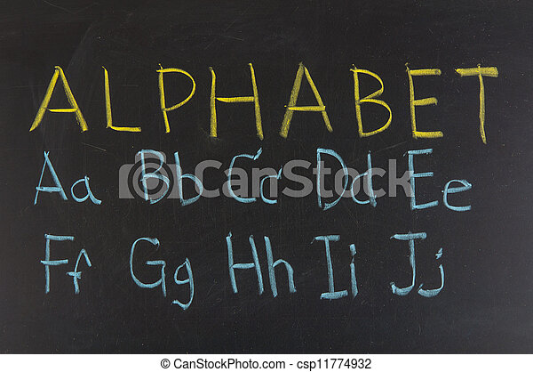 alphabet in capitals written with chalk on a blackboard. - csp11774932