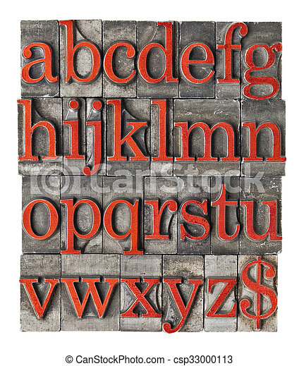 alphabet in grunge metal type - csp33000113