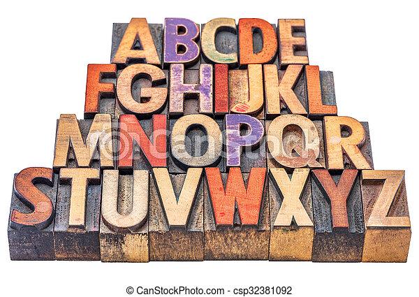 alphabet in letterpress wood type - csp32381092