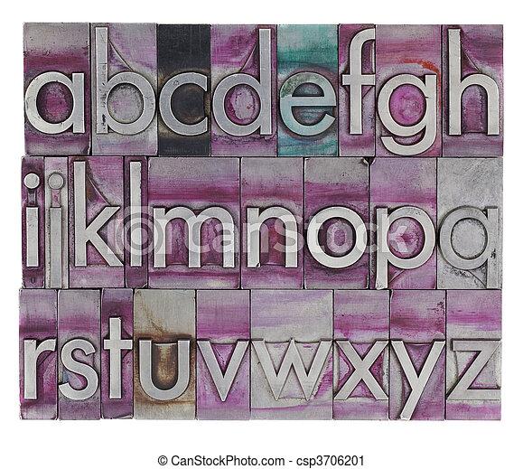 alphabet in metal letterpress type - csp3706201