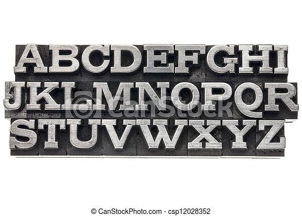 alphabet in metal type - csp12028352