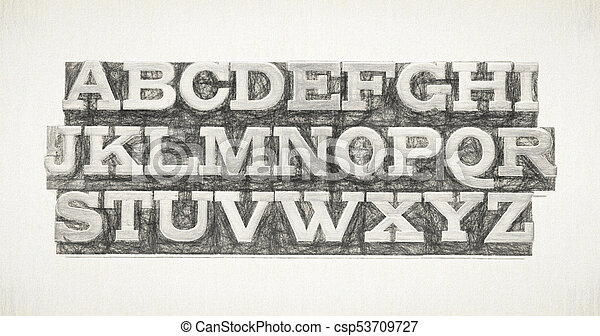 alphabet in metal type - csp53709727