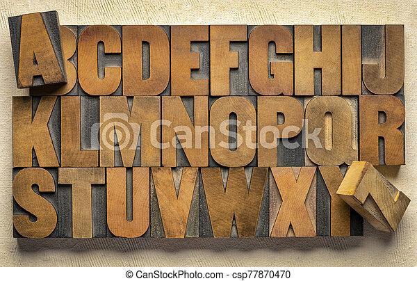 alphabet in vintage letterpress wood type printing blocks - csp77870470