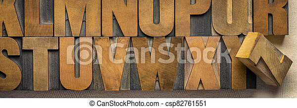 alphabet in vintage letterpress wood type printing blocks - csp82761551