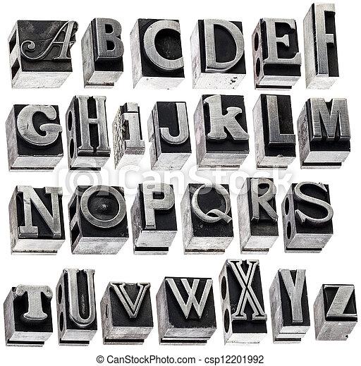 alphabet in vintage metal type - csp12201992