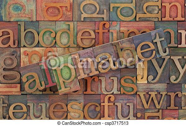 alphabet in vintage wood type - csp3717513