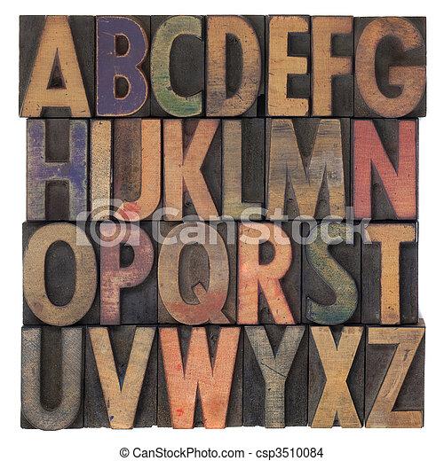 alphabet in vintage wooden letterpress type - csp3510084