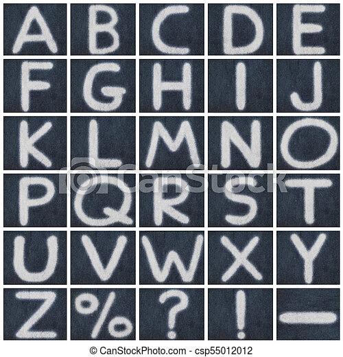 alphabet isolated chalk letter in blackboard background - csp55012012