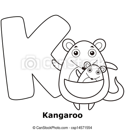 Alphabet, k, färbung, kinder. Kangaroo., k, färbung, kinder ...