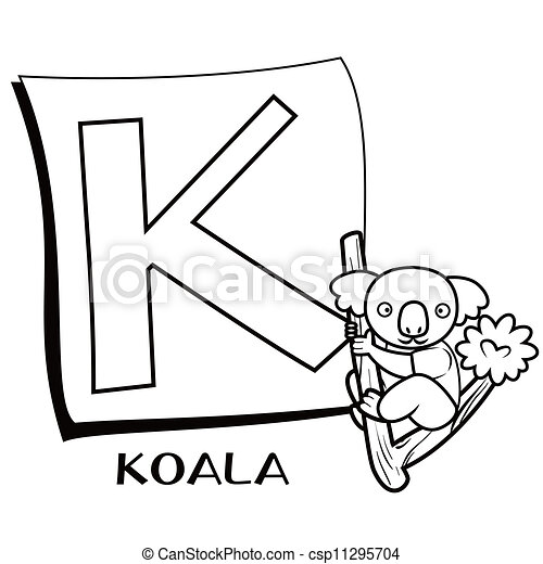 Alphabet, k, färbung, kinder, koala Vektor Clipart - Suche ...