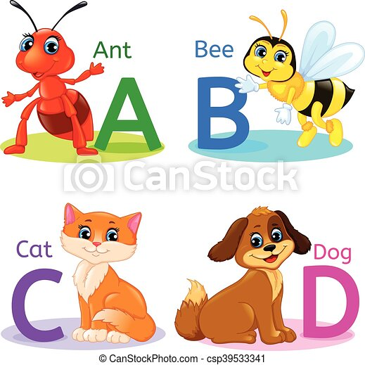 alphabet kids animals abcd vector - Alphabet Pictures For Kids
