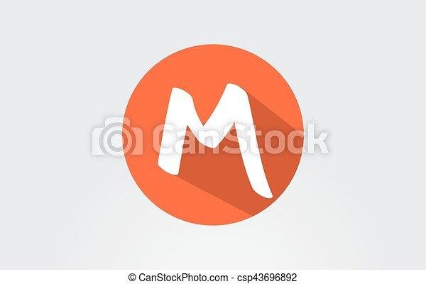 Alphabet Letter M Orane Long Shadow Logo Icon Design