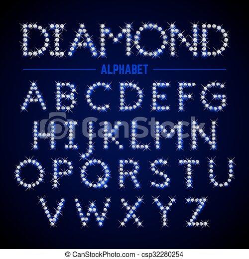 Alphabet letters from diamonds - csp32280254