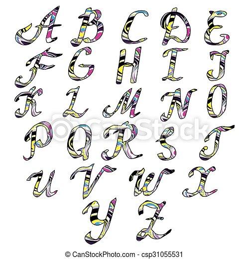 Alphabet letters Hand drawn illustration - csp31055531
