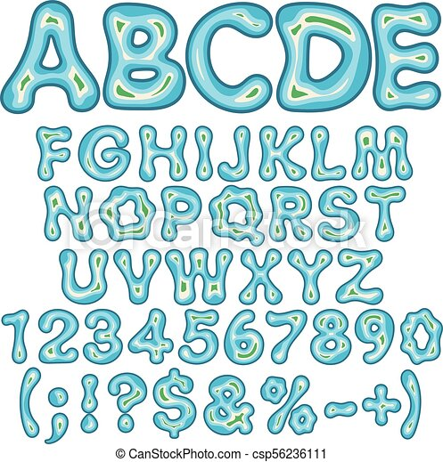 Alphabet, letters, numbers and signs in the form of an island in the sea. Isolated vector objects. - csp56236111