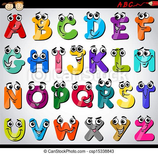 alphabet, lettres, dessin animé, illustration, capital - csp15338843
