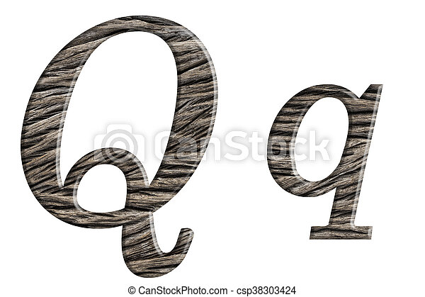 Alphabet made from wood, isolated on white background. - csp38303424