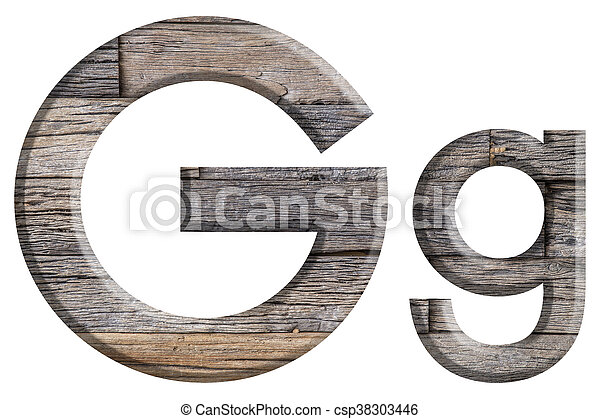 Alphabet made from wood, isolated on white background. - csp38303446