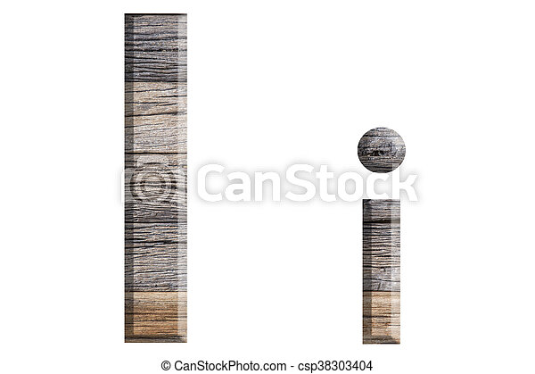 Alphabet made from wood, isolated on white background. - csp38303404