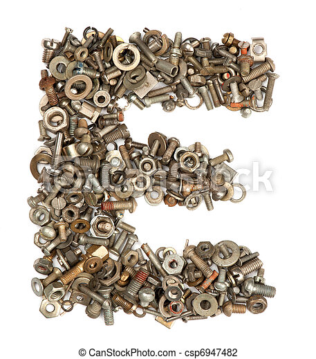 alphabet made of bolts - The letter e - csp6947482