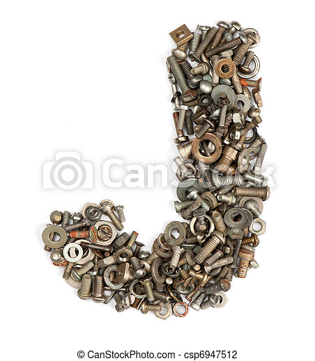 alphabet made of bolts - The letter j - csp6947512