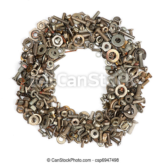 alphabet made of bolts - The letter o - csp6947498
