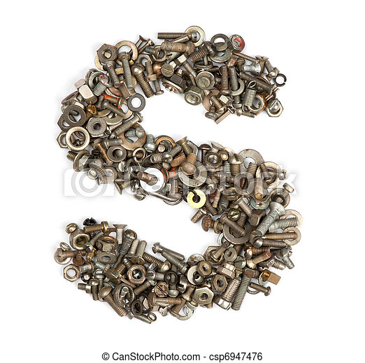 alphabet made of bolts the letter s