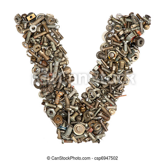 alphabet made of bolts - The letter v - csp6947502