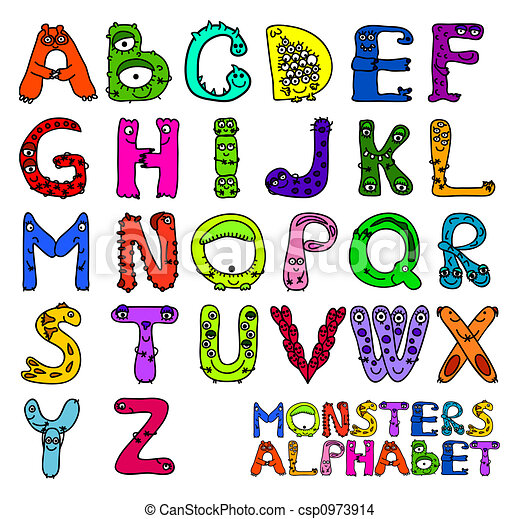 Alphabet monstres alphabet lettres monstres anglaise - Lettres alphabet originales ...