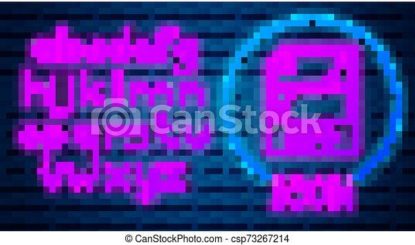 alphabet., muur, svg, knoop, neon, vrijstaand, illustratie, symbool., achtergrond., gloeiend, vector, bestand, licht, downloaden, baksteen, document., pictogram - csp73267214
