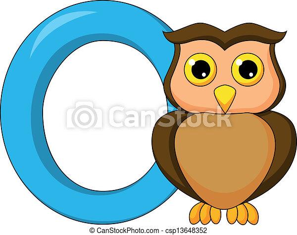 Alphabet O with owl cartoon - csp13648352