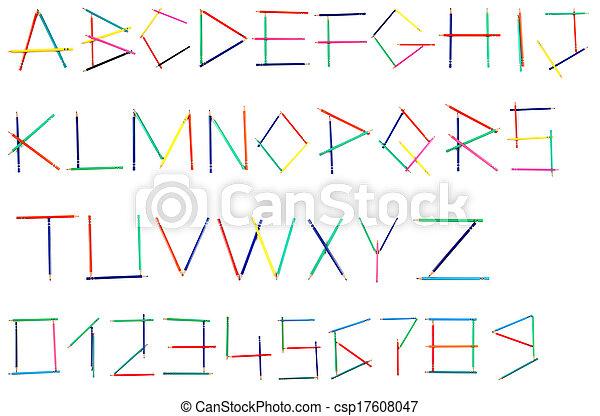 Alphabet of colored pencils - csp17608047