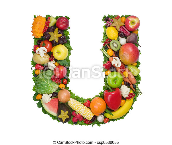 Alphabet of health Letter u made of fresh fruits and ve ables