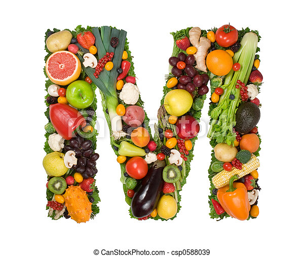Alphabet of health Letter m made of fresh fruits and ve ables