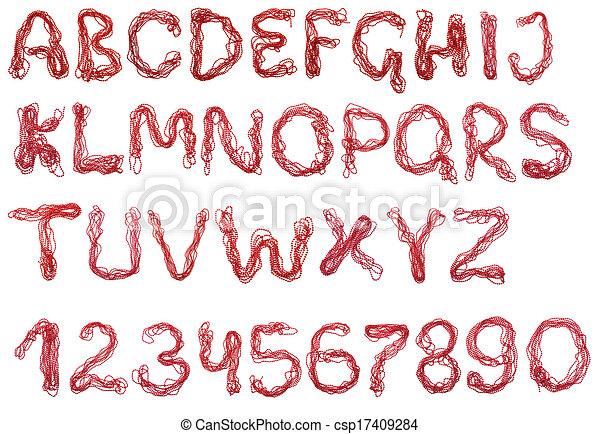 Alphabet of red beads - csp17409284