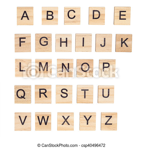 Alphabet on wood ,white background - csp40496472