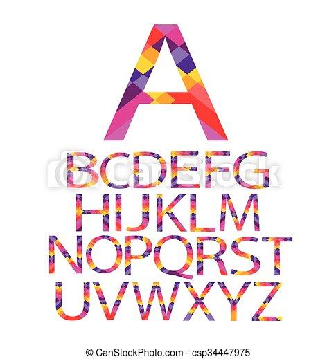 alphabet paper vector color - csp34447975