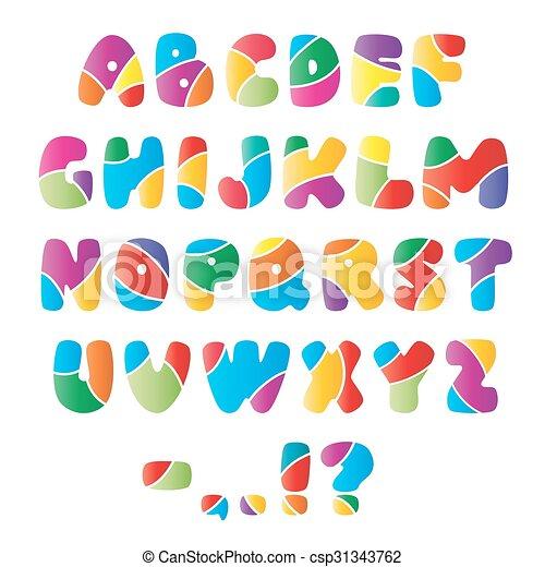 Alphabet Artistique alphabet, police, artistique, raies. lettre, coloré, parties