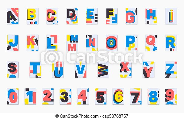 Alphabet Poster Font Design Set Of Numbers And Letters Cover For Magazine Printing Products Flyer Presentation Playing Canstock
