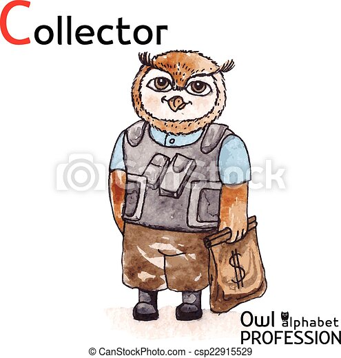 Alphabet professions owl letter c - collector vector ...