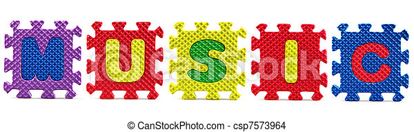 Alphabet puzzle pieces on white background - Music - csp7573964