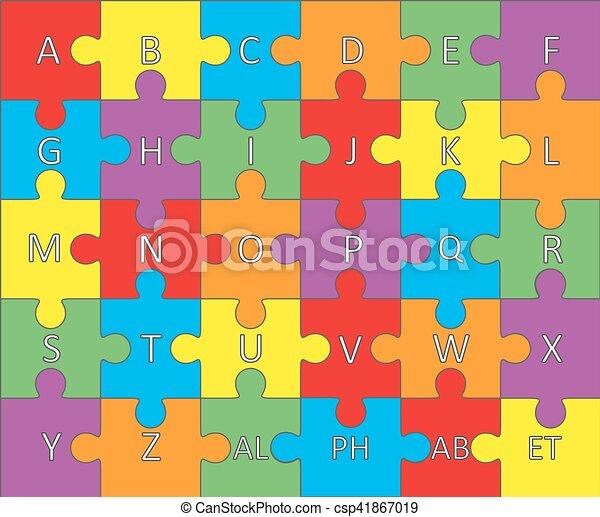 alphabet, puzzle., vector. - csp41867019