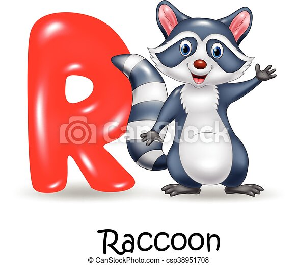 Alphabet R with raccoon - csp38951708