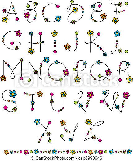 Blümchen-Latin- Alphabet aufsetzen - csp8990646