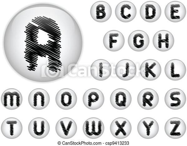 Alphabet Scribble Letters in shiny White Buttons - csp9413233