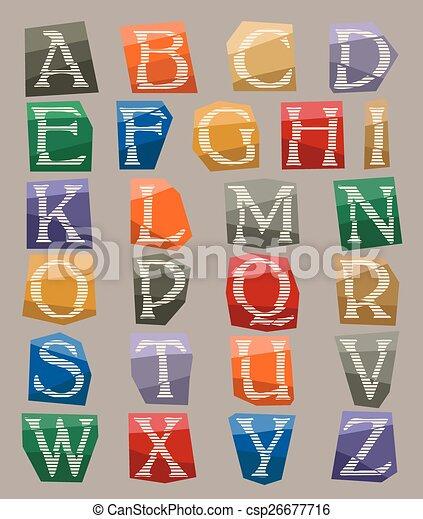alphabet set cut out on color paper - csp26677716