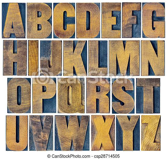 alphabet set in vintage letterpress wood type - csp28714505