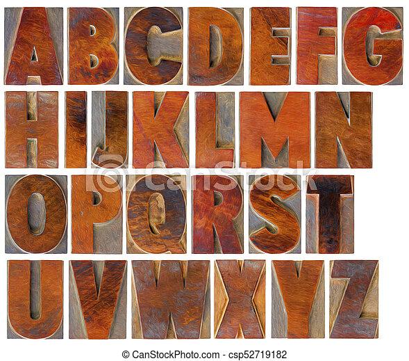 alphabet set in vintage wood type - csp52719182