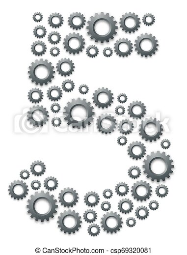 Alphabet set letter number five or 5, Engineering Gear pattern, Teamwork system concept design illustration isolated on white background, vector eps 10 - csp69320081