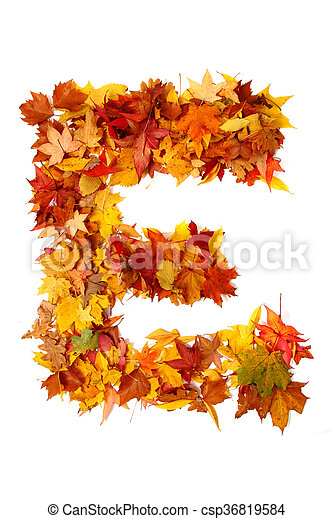 alphabet sign from autumn leaf - csp36819584